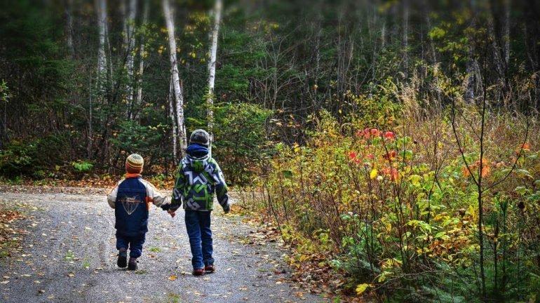 Niños paseando y descubriendo lel bosque :: Abelore, Casas Rurales de Agroturismo en Navarra